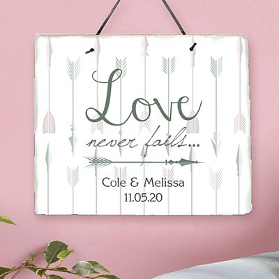 Love Never Fails Arrow Slate