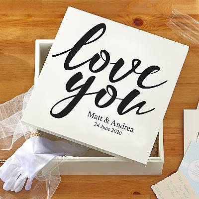 Love You Wedding Keepsake Box