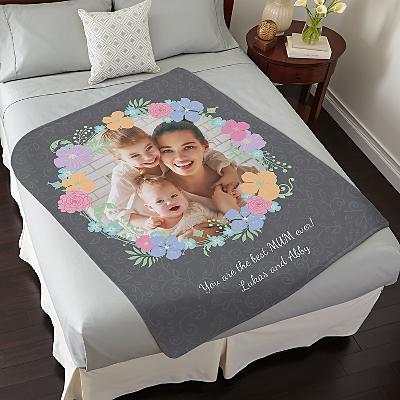 Floral Photo Plush Blanket