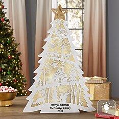 Illuminated Scenic Christmas Tree Figurine