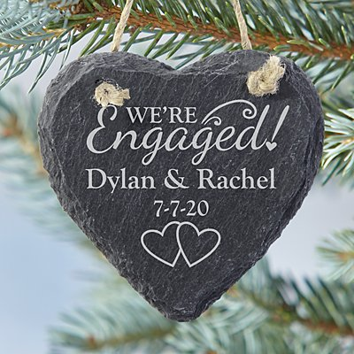 We're Engaged Heart Slate Bauble