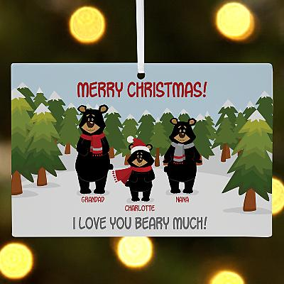 Beary Christmas Family Wooden Rectangle Bauble