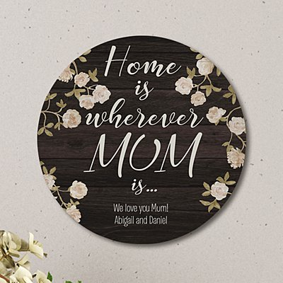 Home is Love Circle Wood  Plaque