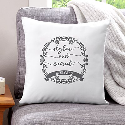 Scripted Floral Wreath Sofa Cushion