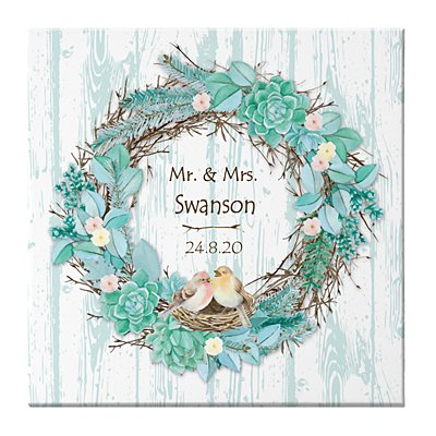 Nestled in Love Wreath Canvas