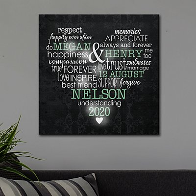 TwinkleBright™  LED Words of Love Heart Canvas