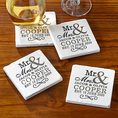 Happy Couple Tile Coaster Set