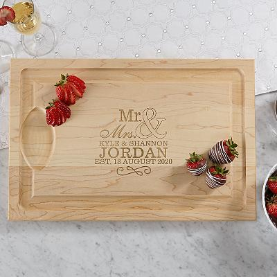 Happy Couple Wood Cutting Board