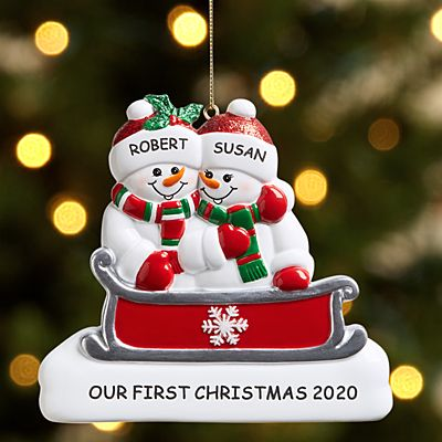 Sleigh Ride Snowman Family Couple Ornament