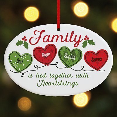 Christmas Family Heartstrings Oval Bauble
