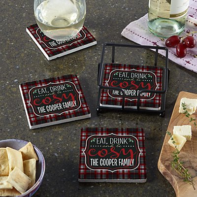 Eat, Drink and Be Cosy Coasters