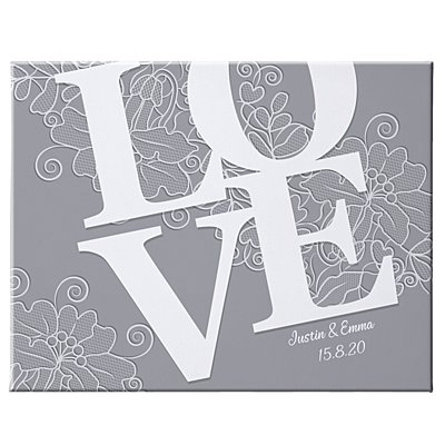 LOVE Couple Canvas-Grey 35x27 cm