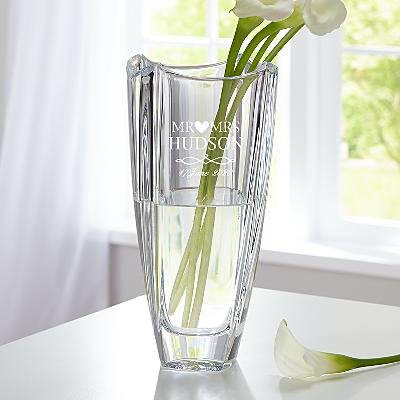 Galway Crystal Engraved Wedding Vase