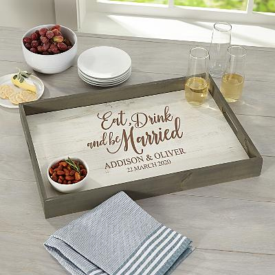 Eat, Drink & Be Married Rustic Wood Tray