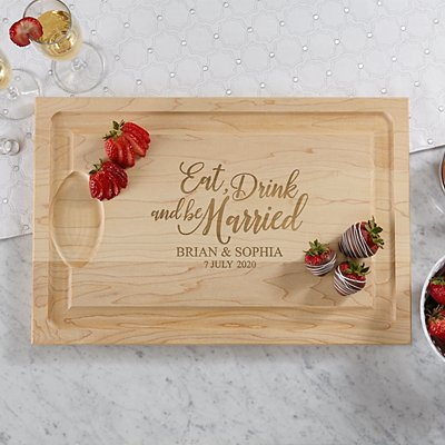 Eat, Drink & Be Married Wooden Chopping Board