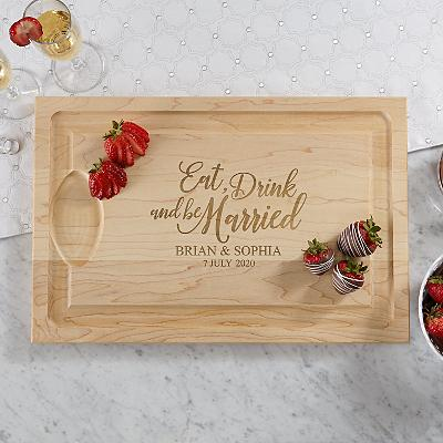 Eat, Drink & Be Married Wooden Cutting Board