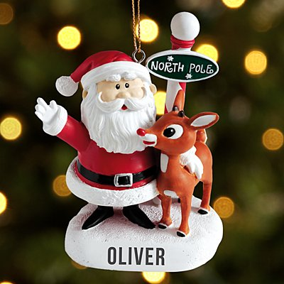 Santa and Rudolph the Red-Nosed Reindeer Bauble with Letter
