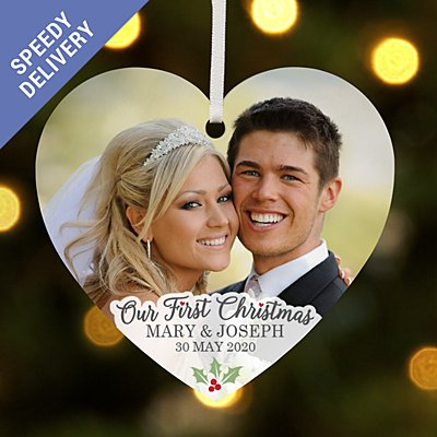 Our First Christmas Photo Heart Bauble