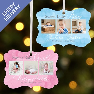 Sweet Baby Photo Scroll Bauble