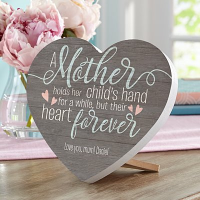 A Mother Holds Her Childs Hand Mini Wooden Heart