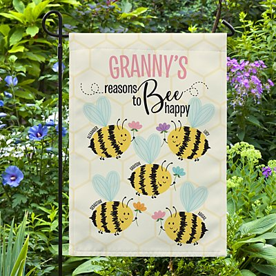 Reasons to Bee Happy Garden Flag
