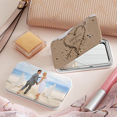 Heart in Sand Photo Purse Mirror