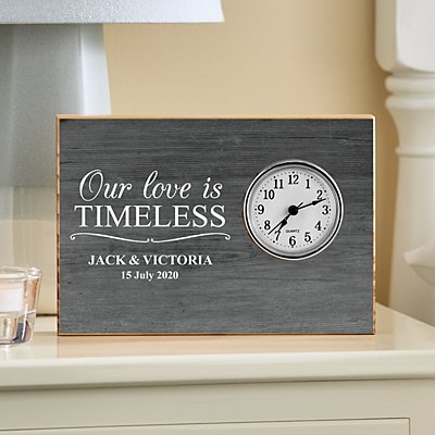 Love Is Timeless Wood Clock