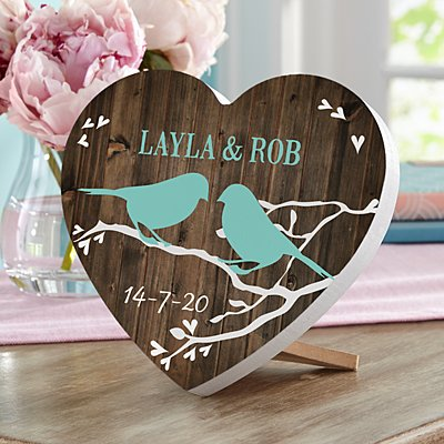 Sweet Lovebirds Mini Wooden Heart