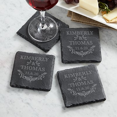 True Love Heart Slate Coasters