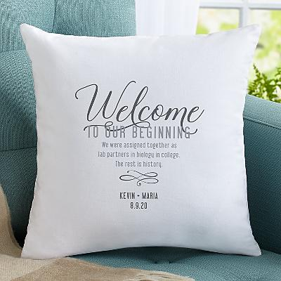 Welcome to Our Beginning Cushion
