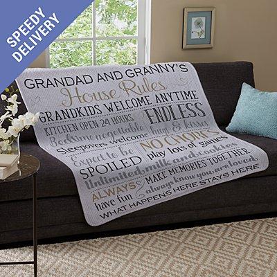 Grandparents Rules Plush Blanket