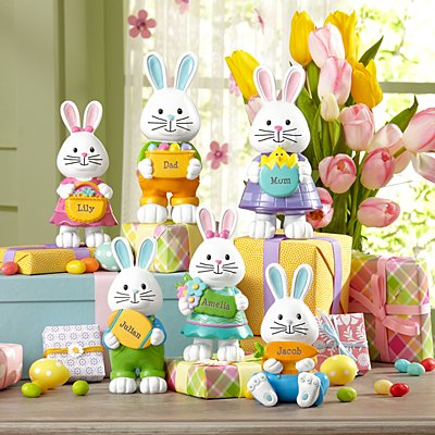 Hoppy Bunny Family Resin Figurines