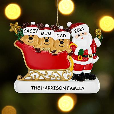 Father Christmas and Reindeer Family Bauble