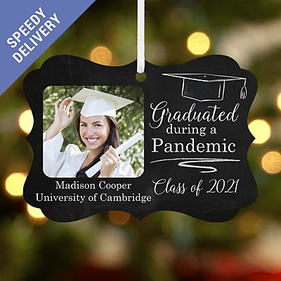 Graduated During a Pandemic Photo Scroll Bauble