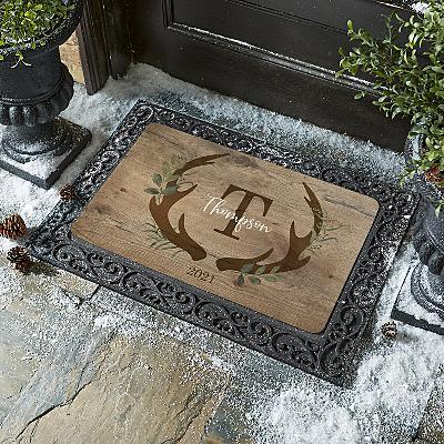 Rustic Reindeer Initial  Doormat