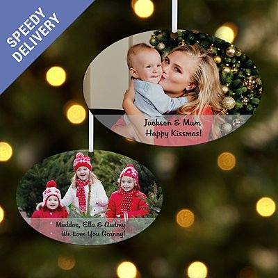 Picture Perfect Photo w/ Message Oval Bauble