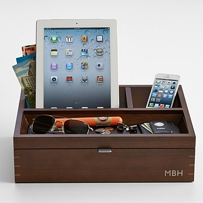 Men's Wood Charging Station and Valet - Personalized