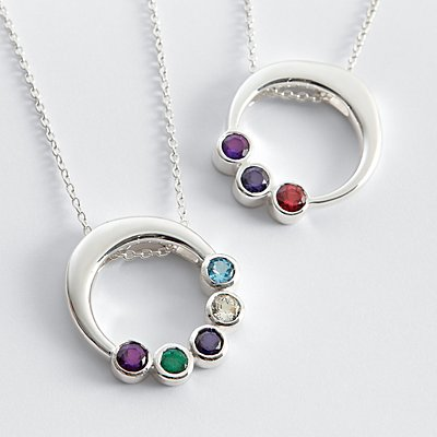 Customized Circle Birthstone Pendant - 4 Stones