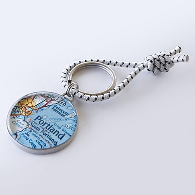 Custom Map Coordinates Keychain - Custom Map + Message