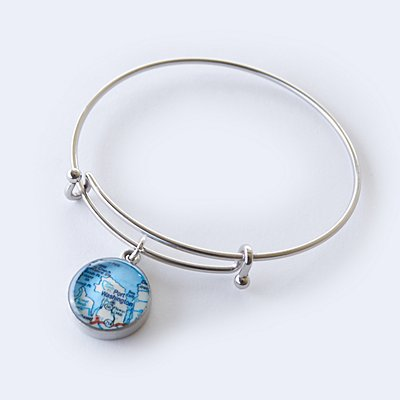 Custom Map Coordinates Bangle Bracelet - Custom Map + Message