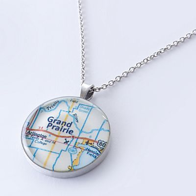 Custom Map Coordinates Necklace