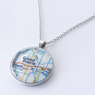 Custom Map Coordinates Necklace - Custom Map + Message