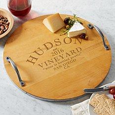 Modern Vineyard Wood Barrel Tray