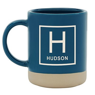 Personally Yours Stoneware Mug- Navy Square Monogram