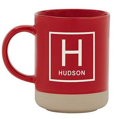 Personally Yours Stoneware Mug - Red Square Monogram