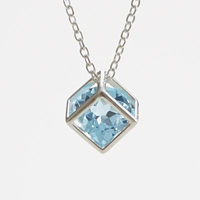Anniversary Stone Necklace - Blue Topaz