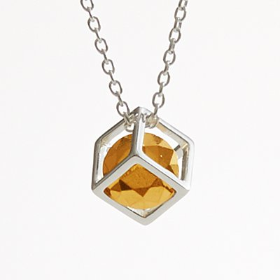 1st Anniversary Stone Necklace - Gold Nugget