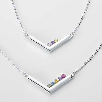 Customized Family Birthstone Bar Necklace