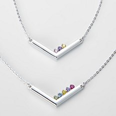 Customized Family Birthstone Bar Necklace