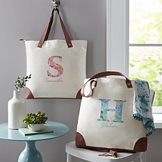 Floral Initial + Name Canvas Tote